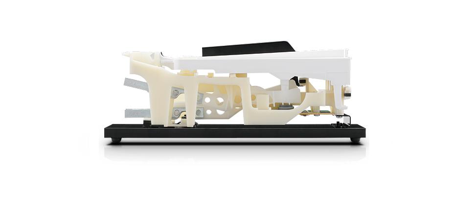 軽量・コンパクトながら木製鍵盤のタッチを再現<br /> レスポンシブ・ハンマー・アクション・スタンダード (RHS)鍵盤